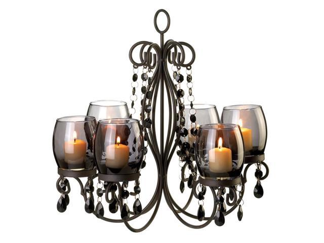 Home Indoor Decorative Holiday Decor Gift 6 Glass Cup Wax Holder Lighting Hanging Midnight Elegance Candle Chandelier