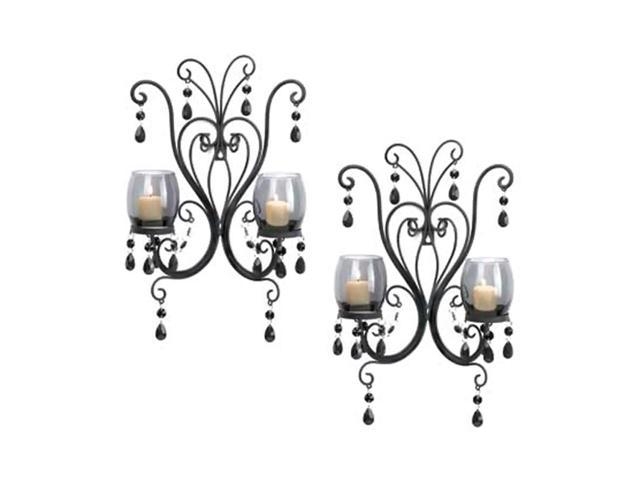 Home Indoor Decorative Holiday Decor 6 Glass Cup Wax Holder Wall Mounted Midnight Elegance Candle Wall Sconces