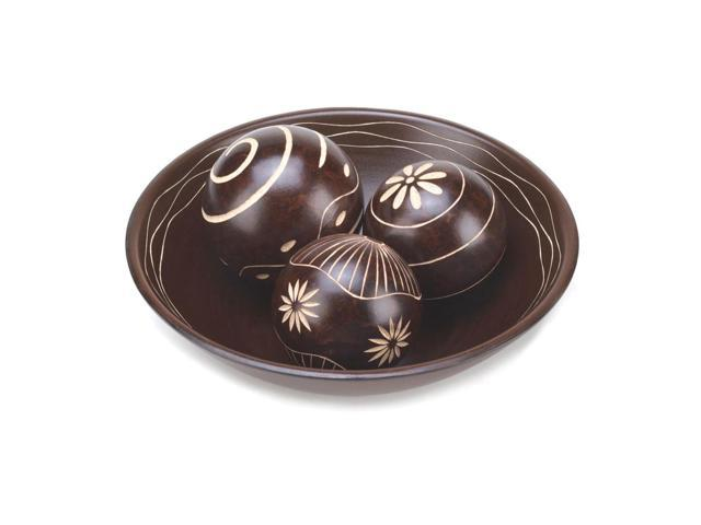 Home Indoor Holiday Gift Decor Table Top 3 Rich Chocolaty Brown Color Umber Decorative Balls Set With Bowl