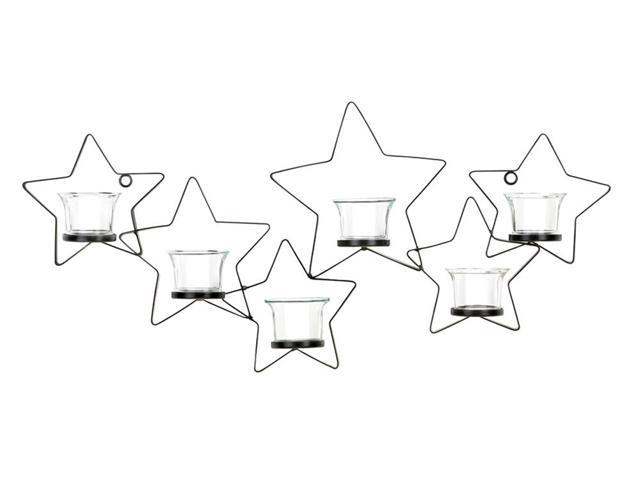 Home Indoor Decorative Holiday Gift Decor Wall Mounted 5 Claer Glass Cup Wax Halder Starlight Candle Wall Sconce