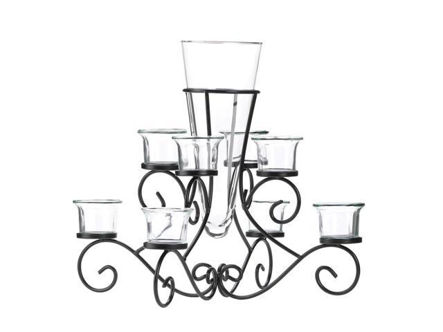 Home Indoor Decorative Holiday Decor Scrollwork Candle Stand Centerpiece Vase