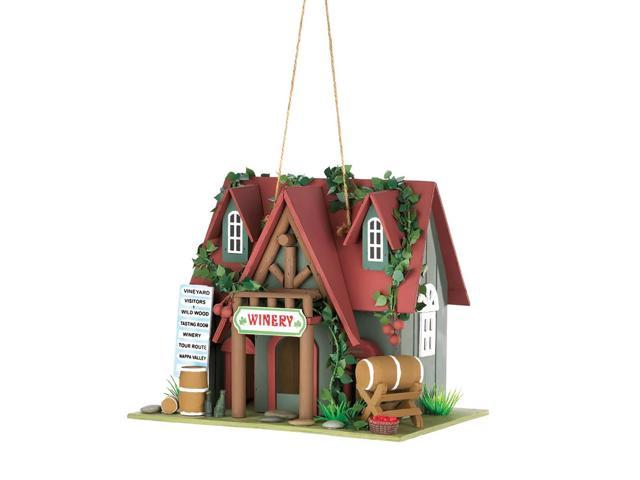 Home Indoor Decorative Holiday Gift Decor Hanging Cottage Winery Wooden Bird House