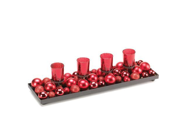 Home Indoor Decorative Holiday Gift Table Top Décor 4 Red Color Glass Cup Merry Candle Centerpiece Display