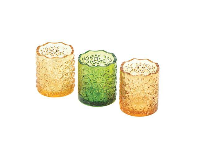 Home Indoor Decorative Holiday Gift Table Top Décor 3 Multi Color Glass Cup Citrine Candle Cups Trio