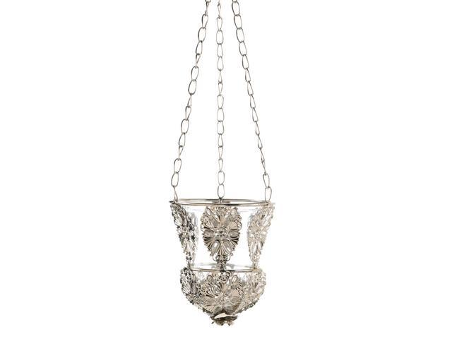 Home Indoor Decorative Holiday Gift Decor Silver Filigree Ornaments Ornate Hanging Candle Lamp