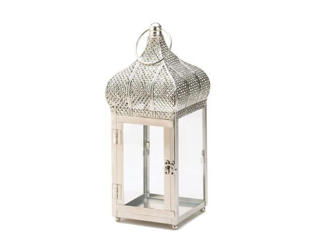 Home Indoor Outdoor Decorative Holiday Gift Décor Hanging And TableTop Candle Accessory Metal Silver Moroccan Dome Lantern
