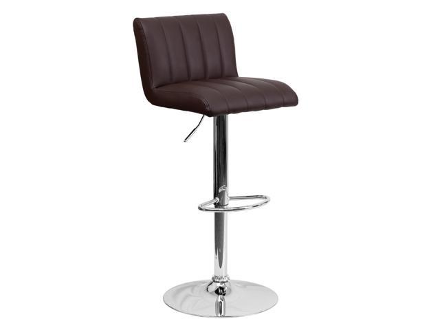 Flash Furniture Contemporary Brown Vinyl Adjustable Height Bar Stool with Chrome Base