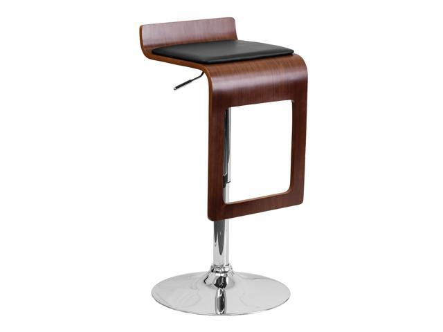 Flash Furniture Home Indoor Walnut Bentwood Adjustable Height Bar Stool with Black Vinyl Seat and Drop Frame