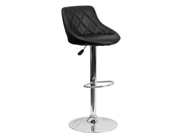 Flash Furniture Contemporary Black Vinyl Bucket Seat Adjustable Height Bar Stool with Chrome Base