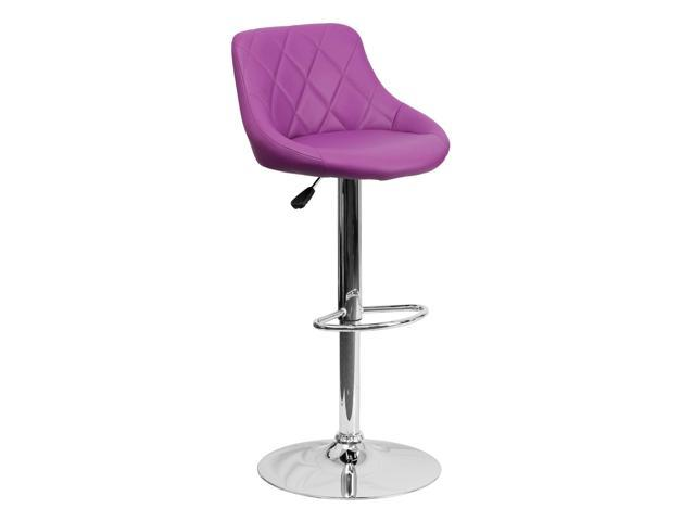 Flash Furniture Contemporary Purple Vinyl Bucket Seat Adjustable Height Bar Stool with Chrome Base