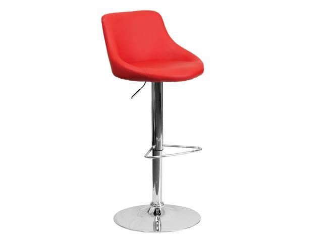 Flash Furniture Contemporary Red Vinyl Bucket Seat Adjustable Height Bar Stool with Chrome Base