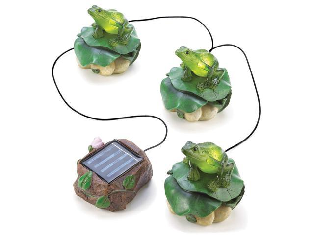Koehler Home Outdoor Yard Garden Patio Decorative Solar Powered Charming Froggy Figurine Trio Path Lighting