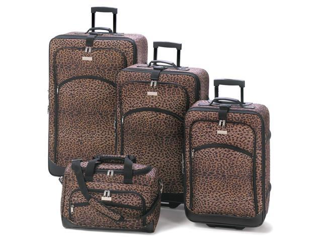 Koehler Home Decor Outdoor Travel Vacation Fashionable Designed Wheeled Leopard Print Travel Luggage Bag Suitcase Ensemble Set
