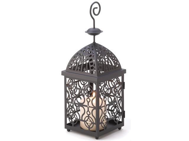 Home Decor Elegant Tabletop Outdoor Large Black Metal Moroccan Birdcage Design Iron Lamp Candle Holder Hanging Lantern