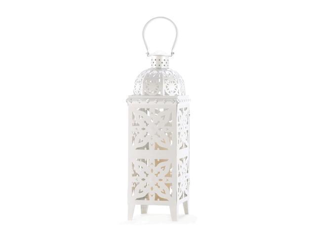 Koehler Home Indoor Outdoor Yard Garden Patio Decorative Giant Size White Medallion Candle Holder Hanging Lantern Wedding Centerpiece