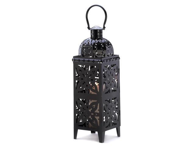 Koehler Home Indoor Outdoor Yard Garden Patio Decorative Giant Size Black Medallion Candle Holder Hanging Lantern Wedding Centerpiece