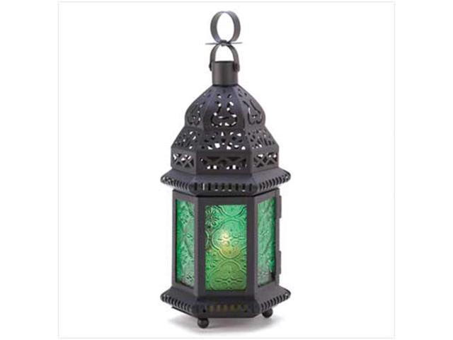 Home Indoor Outdoor Yard Garden Decorative Hanging Tabletop Green Glass Metal Moroccan Winter Fire Candle Holder Lantern Wedding Centrepiece