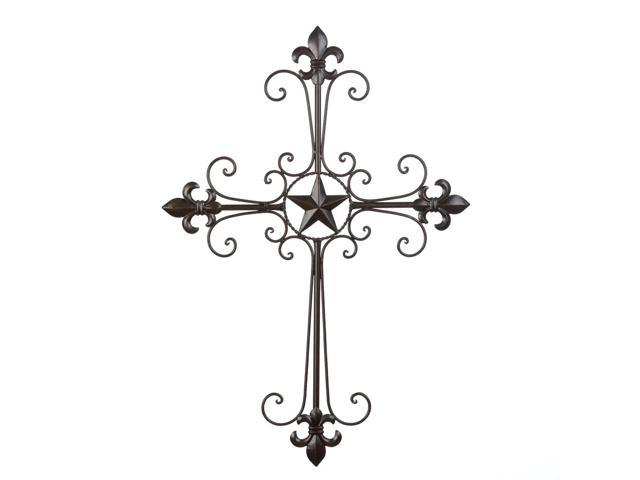 Koehler Lone Star Wrought Iron Cross Curlicues Feur De Lis Spiritual Metal Wall Art Hanging Ornamnent Home Decor