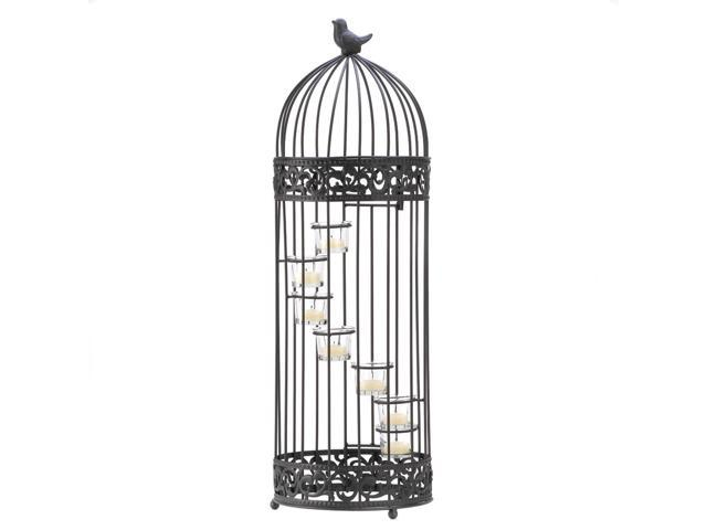 Koehler Home Decor Gift Accent Glass Birdcage Staircase Metal Tealight Candle Holder Stand