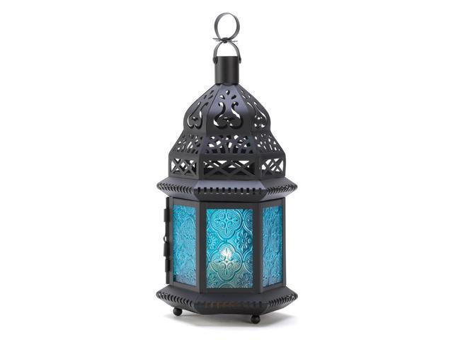 Koehler Home Decor Gift Accent Blue Glass Moroccan Style Metal Candle Lantern Ocean Blue