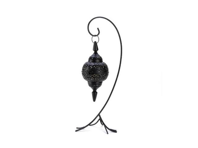 Koehler Home Decor Gift Accent Black Cutout Floor Stand Metal Candle Lantern