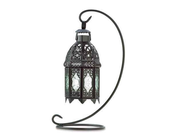 Koehler Home Decor Gift Accent Glass Moroccan Metal Tabletop Candle Lantern