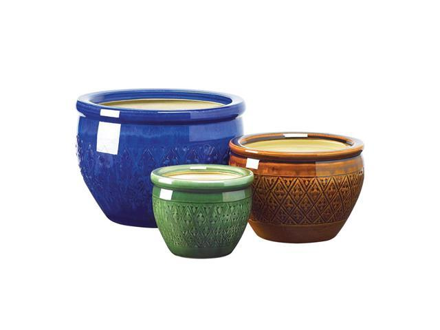 Koehler Home Outdoor Garden Decor Jewel-Tone Ceramic Flower Pot Trio