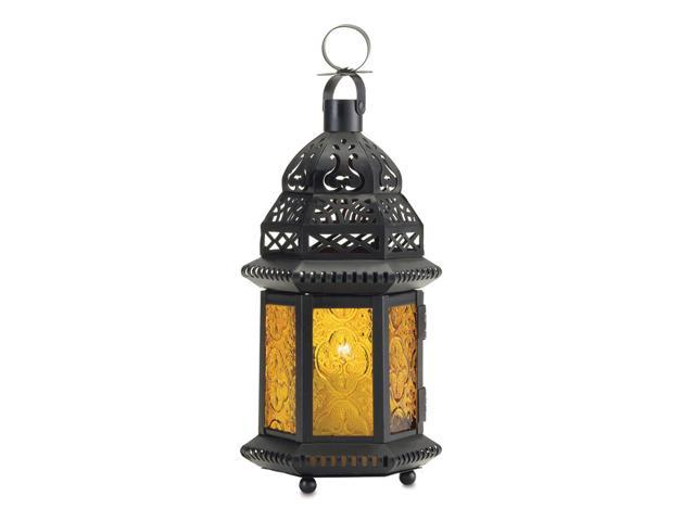 Koehler Home Decor Gift Accent Yellow Glass Tealight Votive Candle Lantern