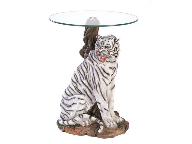Koehler Home Living Room Hallway Décor White Tiger Side End Accent Table