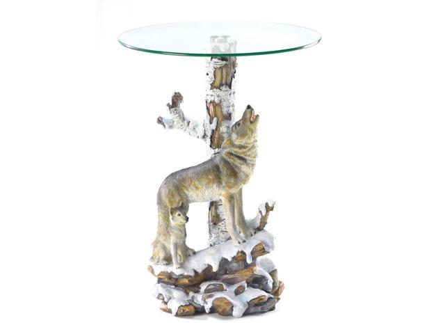 Koehler Home Decor Gift Accent Hallway Entry Side End Wolf Table with Glass Table Top