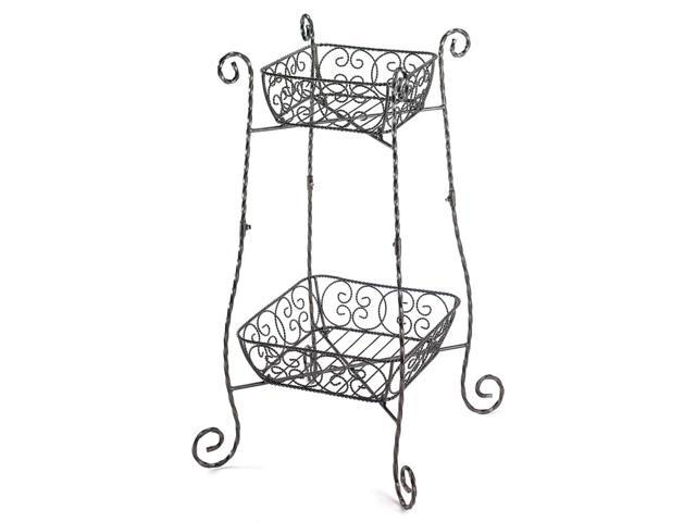 Koehler Home Garden Decorative Gifts Indoor Outdoor Garden Fruit Wire Basket Metal Plant Stand