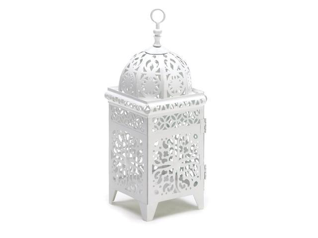 Koehler Home Decor Gift Accent White Floral Filigree Fancy Metal Candle Lantern