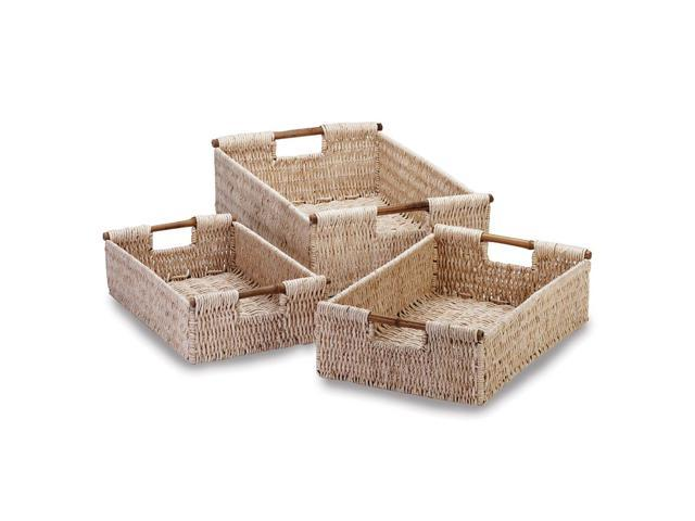 Koehler Home Organizer Decor Woven Corn Husk Storage Nesting Bamboo Baskets