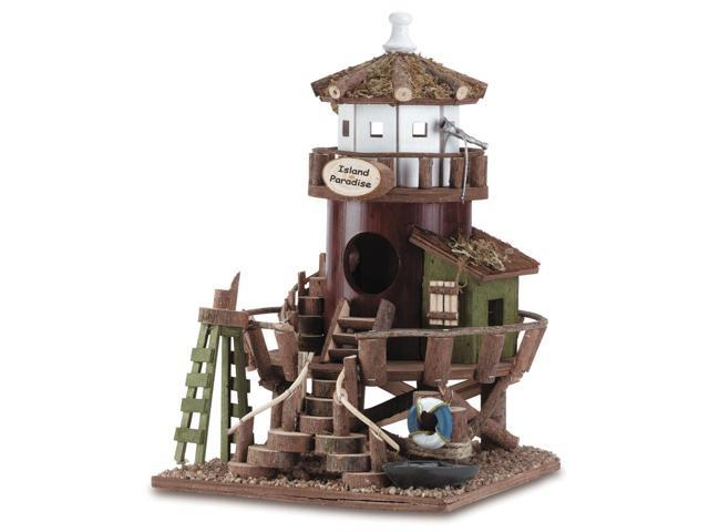 Koehler Home Decor Outdoor Garden Accent Lighthouse Design Wooden Bird House Island Paradise
