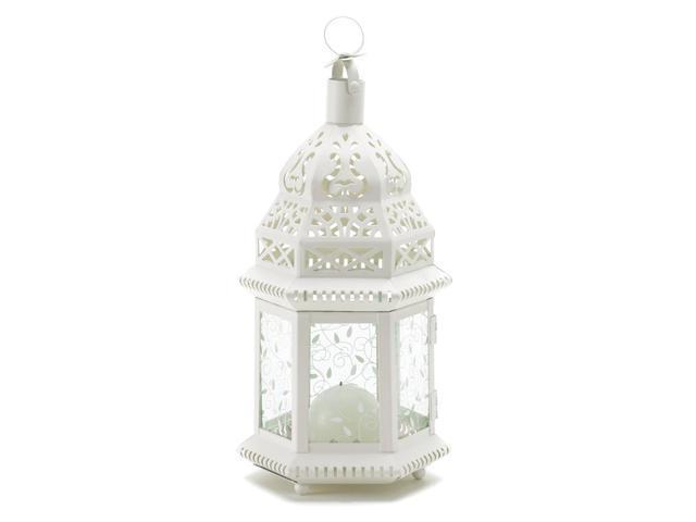 Koehler Home Decor Outdoor Garden Gift Accent White Moroccan Candle Holder Lantern