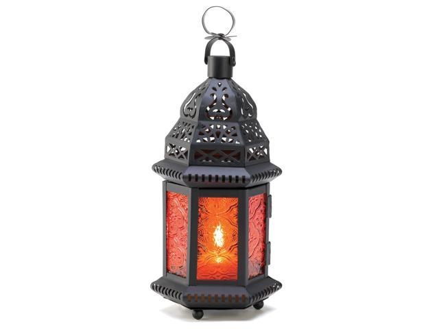 Koehler Home Decor Gift Accent Amber Glass Moroccan Metal Candle Lantern