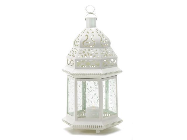 Koehler Home Decor Outdoor Garden Gift Accent Large White Moroccan Candle Holder Lantern