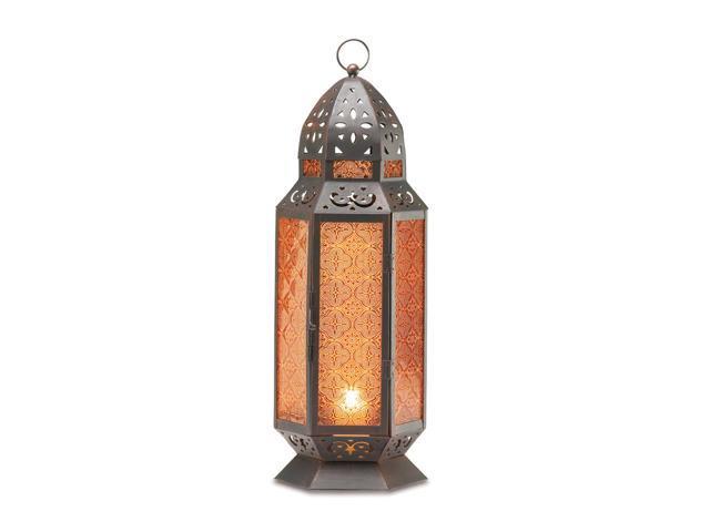 Koehler Home Decor Gift Moroccan Glass Amber Panel Metal Candle Lantern 19