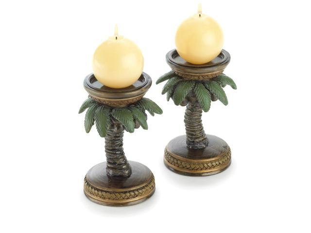 Koehler Home Decor Gift Accent Tropical Palm Tree Candle Holders Alabastrite