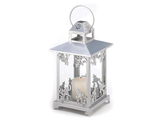 Koehler Home Decor Gift Accent Silver Scrollwork Glass Iron Hanging Candle Lantern