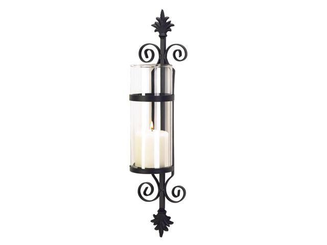 Koehler Home Decor Gift Accent Fleur De Les Wall Metal Glass Pillar Candle Holder