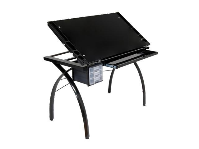 Futura Art Craft WorkStation Black Glass Table With Metal Support Bars