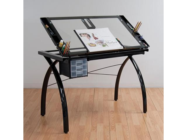 Futura Art Craft Work Station Clear Glass Table With Metal Support Bars