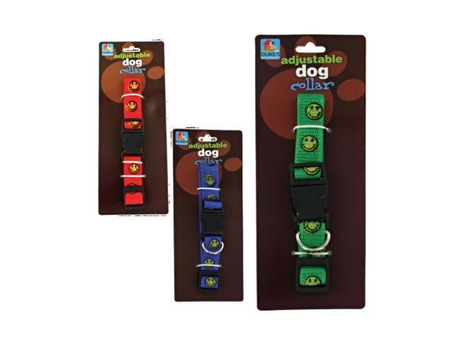 Dukes Home Indoor Outdoor Assorted Adjustable Nylon Happy Fun Face Print Pet Dog Cat Collar Pack 24