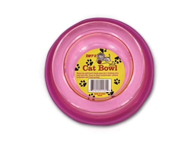 Tinys Non-spill Pet Cat Kitten Kitty Dog Food Dish Feeder Bowl Plastic Pack 12