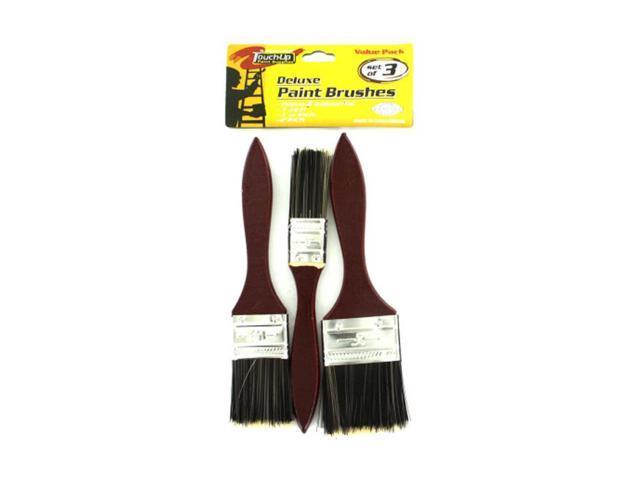 Sterling Set Of 3 Home Indoor Outdoor Deluxe Wall Paint Brushes With Wood Handle 24 Pack