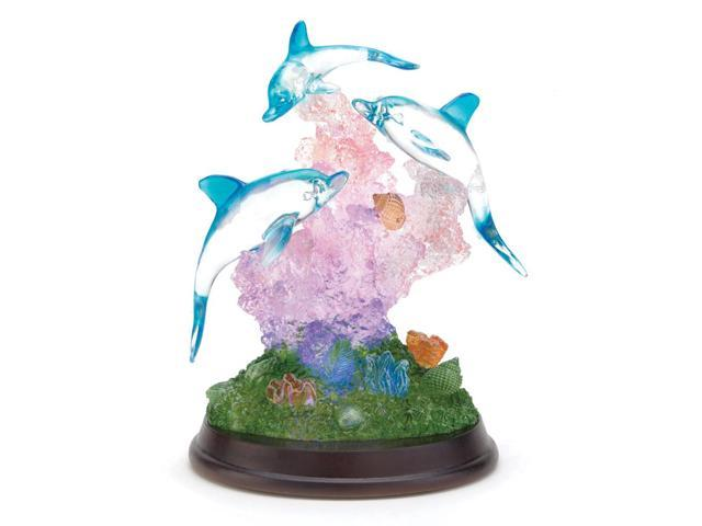 Koehler Home indoor Tabletop Decor Dolphins on Wood Base with LED Lights