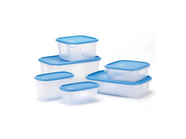 Koehler Home Deluxe Food Storage Set With 6 Container and Blue Lid Plastic
