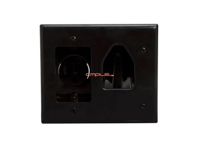 Cmple 619-N Wall Plate Recessed Low Voltage Cable Wall Plate with Recessed Power - Black