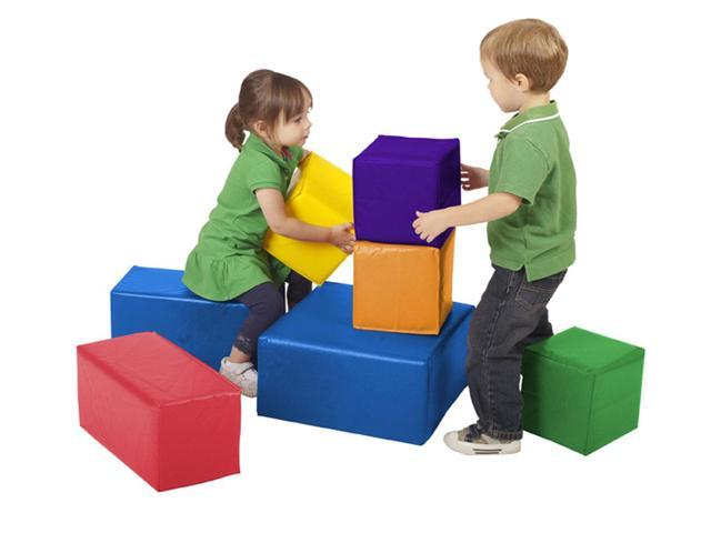 ECr4Kids Home Indoor Preschool Daycare 7 pc Multi Big Bright Chunky Block Set